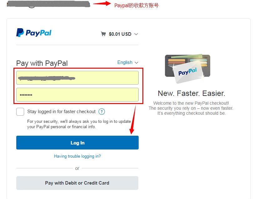 输入paypal付款方账号密码